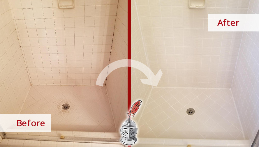 Before And After Picture Of A Tile Shower Grout Cleaning Service In  Franklin Lakes, New