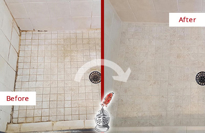 Before and After Picture of a Cresskill Shower Caulked to Fix Cracks