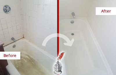 Before and After Picture of a Edgewater Bathtub Caulked to Repair Cracks