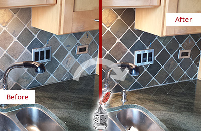 Before and After Picture of a Bear Mountain Backsplash Caulked to Fix and Prevent Water Leaks