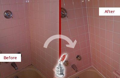 Before and After Picture of a Bear Mountain Bathtub Caulked to Eliminate Mold