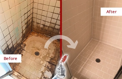 Before and After Picture of a Edgewater Shower Caulked to Fix and Prevent Water Damage