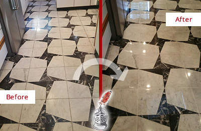 Before and After Picture of a Dull Albion Place Marble Stone Floor Polished To Recover Its Luster