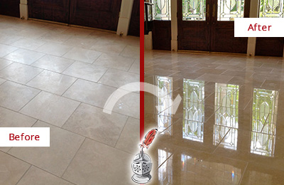 Before and After Picture of a Dull Albion Place Travertine Stone Floor Polished to Recover Its Gloss