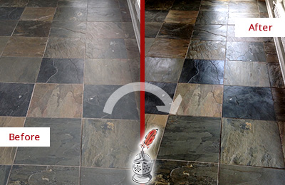 Before and After Picture of a Dull Edgewater Slate Floor Sealed to Bring Back Its Colors