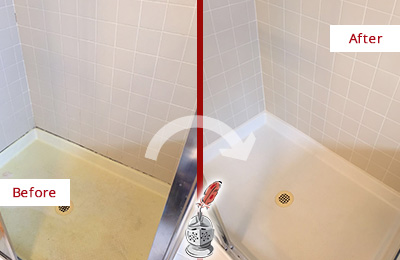 Before and After Picture of a Edgewater Shower Sealed to Remove and Protect Against Mold