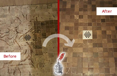 Before and After Picture of a Stained Albion Place Marble Shower Floor Cleaned to Remove Etching