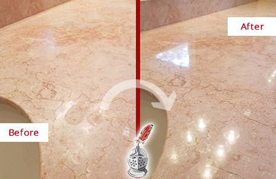 Before and After Picture of a Bergenfield Marble Stone Vanity Top Sealed to Avoid Water Marks