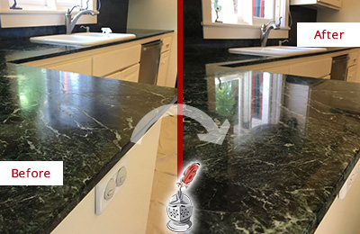Before and After Picture of a Congers Marble Kitchen Countertop Honed to Remove Water Marks