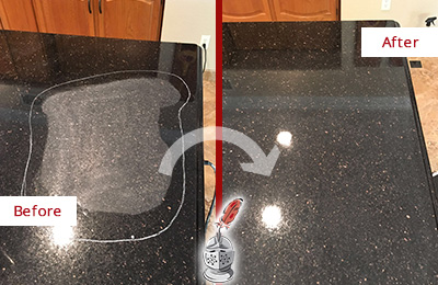 Before and After Picture of a Haworth Hard Surface Restoration Service on a Granite Countertop to Remove Scratches