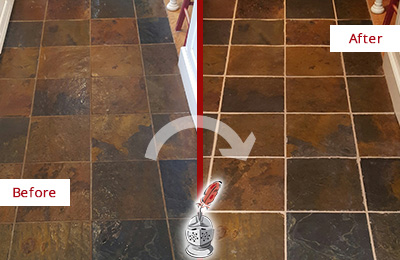 Before and After Picture of Bogota Slate Floor Grout Cleaned to Remove Dirt