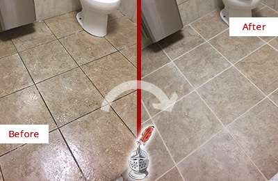Before and After Picture of a Allwood Office Restroom Floor Recolored Grout
