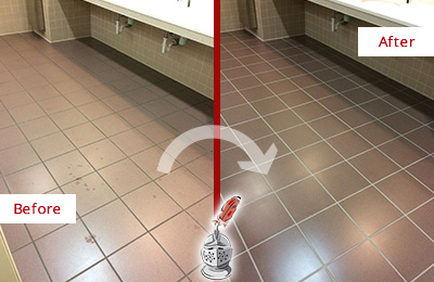 Before and After Picture of Dirty Erskine Office Restroom with Sealed Grout