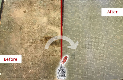 Before and After Picture of a Bloomfield Mosaic Shower Cleaned to Eliminate Embedded Dirt