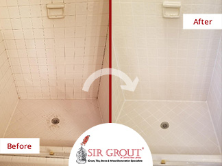 Before and After Picture of a Tile Shower Grout Cleaning Service in Franklin Lakes, New Jersey