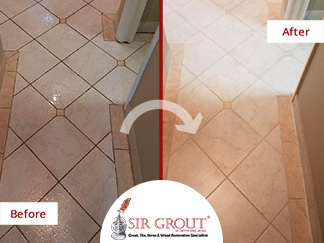 Before and After Picture of a Tile Shower Grout Sealing in Westwood, New Jersey