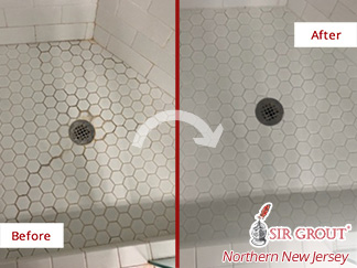 Before and After of a Ceramic Tile Shower Floor After Our Tile and Grout Cleaners Service in New City, NJ