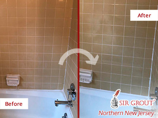 Before and after Picture of This Damaged Bathroom after a Tile and Grout Cleaning Service