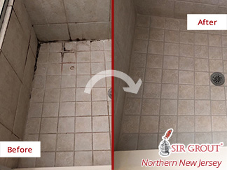 Before and After Picture of a Shower Floor After Our Tile and Grout Cleaners Service in Morristown, NJ
