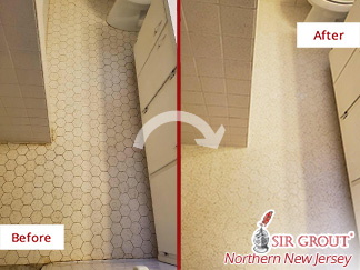 Before and after Picture of a Hard Surface Restoration Job in Fort Lee, NJ