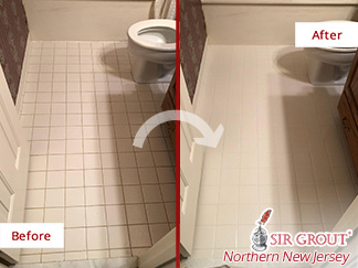 Before and after Picture of a Grout Cleaning Job in Englewood Cliffs, NJ