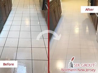 Before and After Picture of a Tile and Grout Cleaning Process in Chatham, NJ