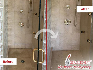 Before and after Picture of a Stone Cleaning Process in Edgewater, NJ