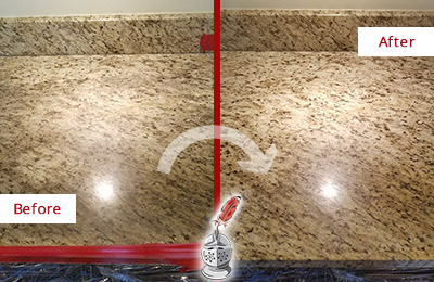 Before and After Picture of a Dull Kitchen Granite Countertop Cleaned and Sealed to Recover Its Sheen