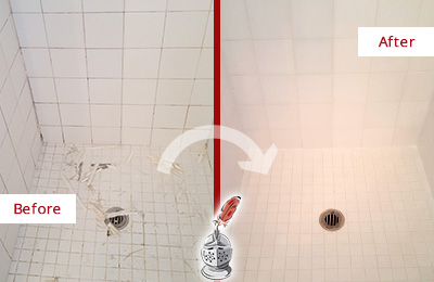Picture of a White Shower with Damaged Caulking Before and After our Bathroom Recaulking Service