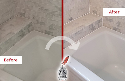 Picture of a Marble Bathroom Before and After a Bathroom Recaulking on the Tub Joints