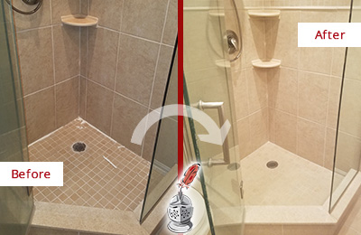Picture of a Tan Tile Shower with Caulking Peeling Off Before and After a Caulking Service