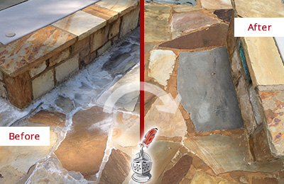 Picture of a Hotel Pooldeck with Efflorescence Before and After Restoration and Maintenance