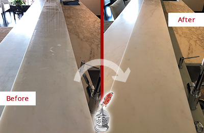 Picture of a Restaurant Marble Bar Before and After Maintenance and Restoration