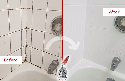 Before and After Picture of a Linden Shower Tile and Grout Cleaned to Eliminate Mold