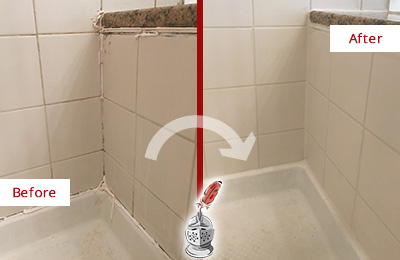 Before and After Picture of a Mountain Lakes Shower Caulked to Repair Damaged Caulking