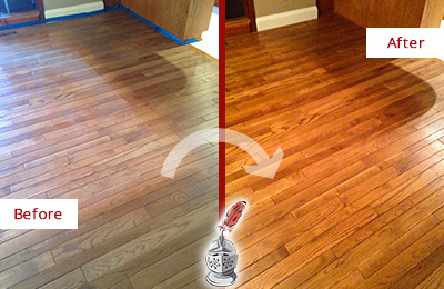 Before and After Picture of a Bayonne Wood Sandless Refinishing Service on a Dull Floor to Recover Its Sheen