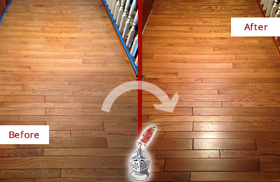 Before and After Picture of a Bayonne Wood Sandless Refinishing Service on a Dull Hallway