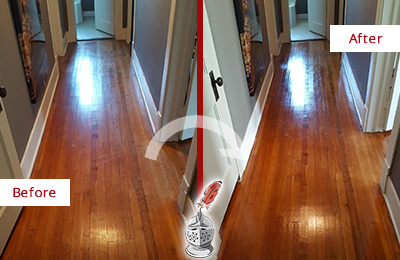 Before and After Picture of a Bayonne Wood Sandless Refinishing Service on a Floor to Eliminate Scratches