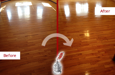 Before and After Picture of a Bayonne Wood Sandless Refinishing Service on a Room Floor to Remove Scratches
