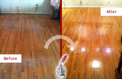 Before and After Picture of a Bayonne Wood Sandless Refinishing Service on a Stained Floor