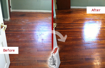 Before and After Picture of a Bayonne Wood Sandless Refinishing Service on a Dull Floor to Remove Stains