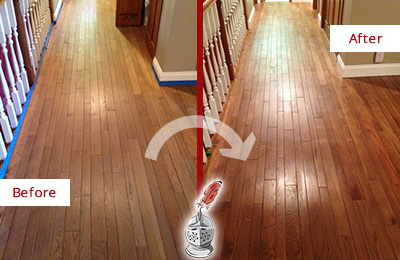 Before and After Picture of a Bayonne Wood Sandless Refinishing Service on a Worn Out Floor