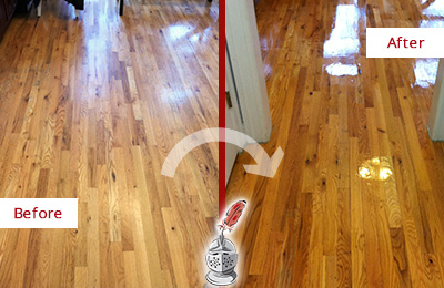 Before and After Picture of a Bayonne Wood Sandless Refinishing Service on a Worn Out Hallway