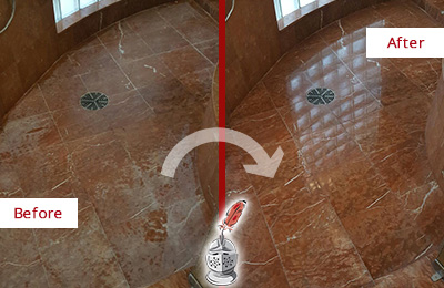 Before and After Picture of a Carlstadt Marble Stone Shower Polished to Eliminate Mineral Deposits