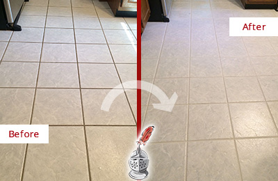 Before and After Picture of a Blauvelt Kitchen Ceramic Floor Sealed to Protect From Dirt and Spills