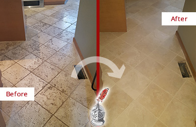 Before and After Picture of a Dumont Kitchen Marble Floor Cleaned to Remove Embedded Dirt