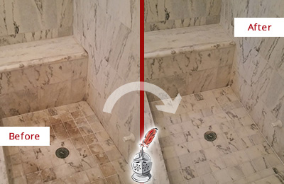 Before and After Picture of a Dirty Leonia Marble Shower Cleaned to Eliminate Dark Stains