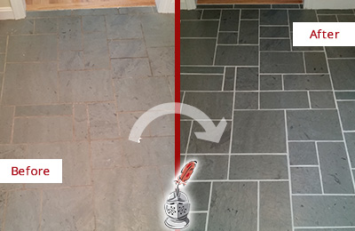 Before and After Picture of a Leonia Slate Floor Cleaned to Remove Deep-Seated Dirt