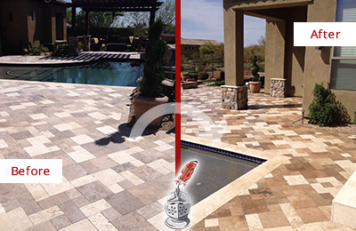 Before and After Picture of a Dull Dumont Travertine Pool Deck Cleaned to Recover Its Original Colors