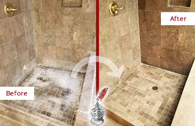 Before and After Picture of a Leonia Travertine Shower Cleaned to Eliminate Water Spots